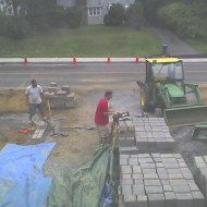 First blocks of new retaining wall